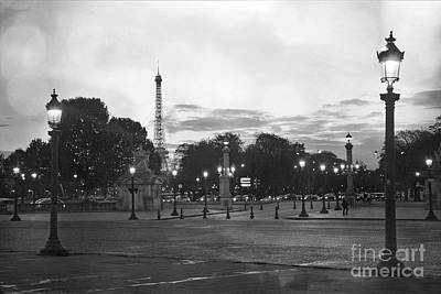 Surreal Paris Decor Photograph - Paris Place De La Concorde Plaza Night Lanterns Street Lamps - Black And White Paris Street Lights by Kathy Fornal