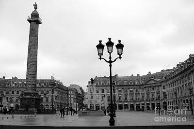 Photograph - Paris Place Vendome Plaza Street Lanterns Landmark - Paris Black White Place Vendome Architecture by Kathy Fornal