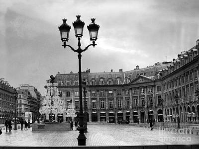 Photograph - Paris Place Vendome Street Lanterns - Paris Black White Architecture Street Lamps Shopping District by Kathy Fornal