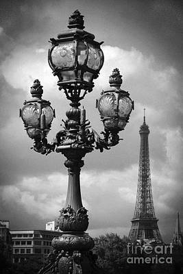 Photograph - Paris Pont Alexandre Bridge Lanterns Lamps - Eiffel Tower View Pont Alexandre Bridge by Kathy Fornal