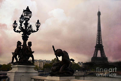 Paris Pont Alexandre IIi Bridge - Dreamy Romantic Paris Bridge With Cherubs Lanterns Eiffel Tower Art Print