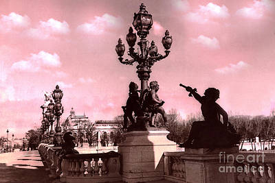 Paris Pont Alexandre IIi Bridge - Paris Ornate Bridge With Dreamy Pink Clouds Sky - Paris Bridges Art Print