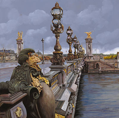 Paris-pont Alexandre IIi Art Print by Guido Borelli