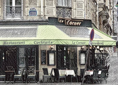 Digital Art - Paris - Restaurant by Judy Palkimas