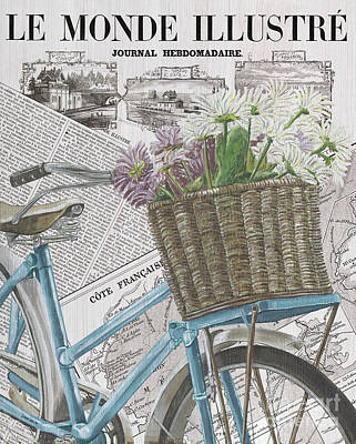 Newspaper Painting - Paris Ride 1 by Debbie DeWitt