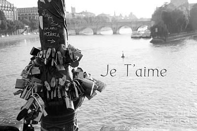 Photograph - Paris River Seine Pont Des Art Bridge Locks Of Love - Paris Black White Photography Seine River by Kathy Fornal