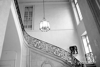 Rodin Photograph - Paris Rodin Museum Grand Staircase Black And White - Rodin Museum Architecture Staircase by Kathy Fornal
