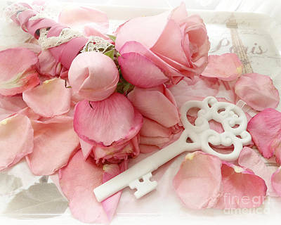 Pink And White Art Photograph - Paris Romantic Dreamy Shabby Chic Pink Roses White Skeleton Key Art  by Kathy Fornal