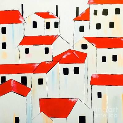 Paris Roof Top Houses Original by Poonam Choudhary