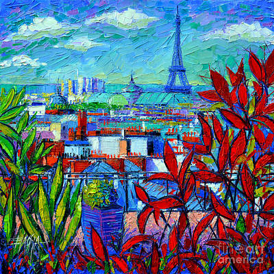 Purple Sky Painting - Paris Rooftops - View From Printemps Terrace   by Mona Edulesco