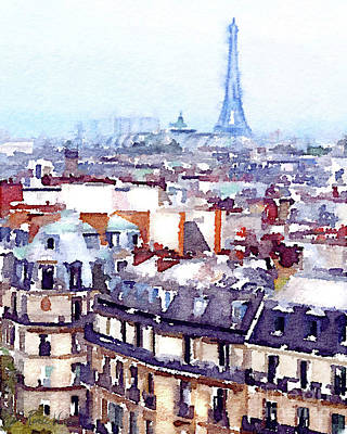 Painting - Paris Rooftops Watercolor by D Renee Wilson