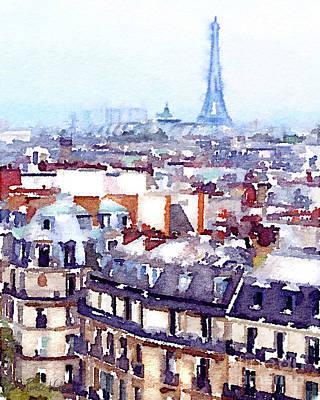 Painting - Paris Rooftops Watercolor by D Renee Wilson