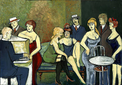 Painting - Paris Salon Scene Women In Seductive Cloths Impressionistic Piano Hats Table Chair Mustache  by Rachel Hershkovitz