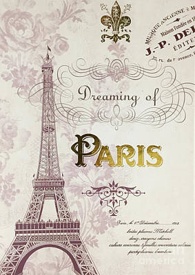 Photograph - Paris Script Typography - Dreaming Of Paris French Typography Script Decor by Kathy Fornal