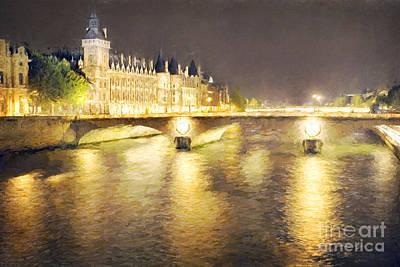 Thomas Kinkade - Paris Seine at night by Julie Woodhouse
