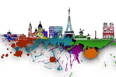 Cities Digital Art - Paris Skyline -3 by Alberto RuiZ