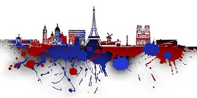 Paris Digital Art - Paris Skyline .4 by Alberto RuiZ