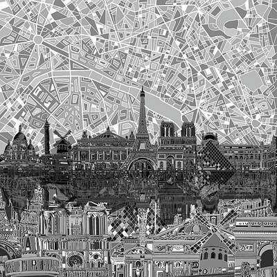Painting - Paris Skyline Black And White by Bekim Art