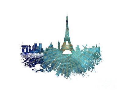 Paris Skyline Royalty-Free and Rights-Managed Images - Paris skyline blue nights by Justyna JBJart
