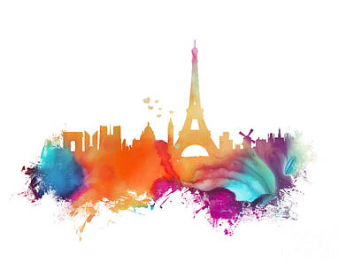Paris Skyline Royalty-Free and Rights-Managed Images - Paris skyline France watercolor by Justyna JBJart