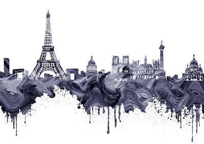 Paris Skyline Royalty-Free and Rights-Managed Images - Paris Skyline Italy 10 by Prar Kulasekara