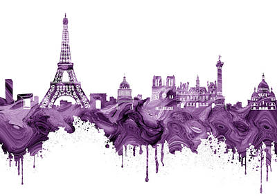 Paris Skyline Royalty-Free and Rights-Managed Images - Paris Skyline Italy 12 by Prar Kulasekara