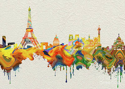 Paris Skyline Royalty-Free and Rights-Managed Images - Paris Skyline Italy 6 by Prar Kulasekara
