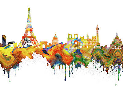 Paris Skyline Royalty-Free and Rights-Managed Images - Paris Skyline Italy 7 by Prar Kulasekara
