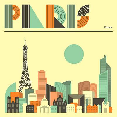 Paris Skyline Digital Art - Paris Skyline by Jazzberry Blue