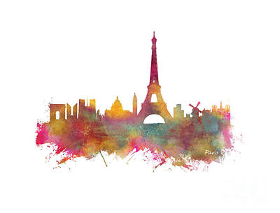 Paris Skyline Royalty-Free and Rights-Managed Images - Paris skyline by Justyna JBJart