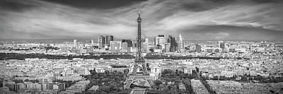 Photograph - Paris Skyline - Monochrome Panorama by Melanie Viola