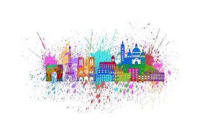 Paris Skyline Royalty-Free and Rights-Managed Images - Paris Skyline Paint Splatter Color Illustration by Jit Lim