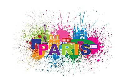 Paris Skyline Royalty-Free and Rights-Managed Images - Paris Skyline Paint Splatter Text Illustration by Jit Lim