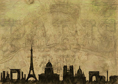Eiffel Tower Mixed Media - Paris Skyline Postcard by Dan Sproul