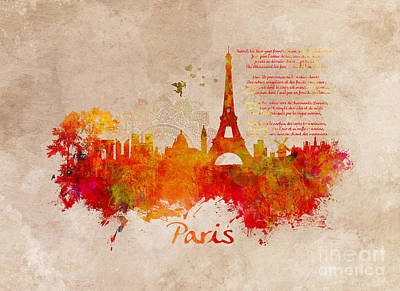 Paris Skyline Royalty-Free and Rights-Managed Images - Paris skyline Romantic by Justyna JBJart