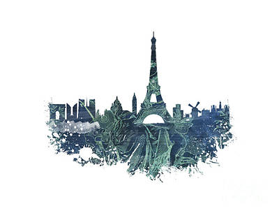 Paris Skyline Royalty-Free and Rights-Managed Images - Paris skyline street by Justyna JBJart