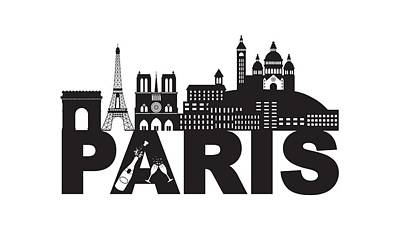 Paris Skyline Royalty-Free and Rights-Managed Images - Paris Skyline Text Champagne Black and White Illustration by Jit Lim