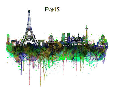 Tour Eiffel Mixed Media - Paris Skyline Watercolor by Marian Voicu