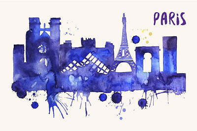 Painting - Paris Skyline Watercolor Poster - Cityscape Painting Artwork by Beautify My Walls