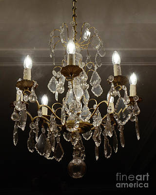 Photograph - Paris Sparkling Crystal Chandelier - French Chandelier Decor - Parisian Chandelier by Kathy Fornal