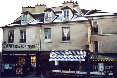 Paris St. Pierre Montmartre Cafe Restaurant Pub Photos - Paris Winter Snow In Montmartre District  Art Print by Kathy Fornal