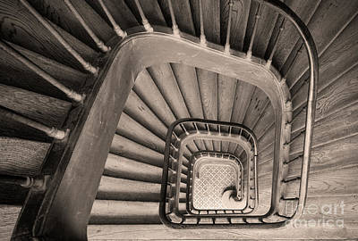 Photograph - Paris Staircase - Sepia by Brian Jannsen