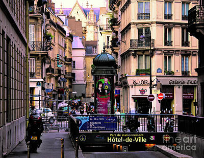 Digital Art - Paris Street Hotels Theater Architecture Mixed  by Chuck Kuhn