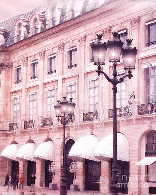 Photograph - Paris Street Lanterns - Paris Pink And Black Street Lamps Lanterns Architecture - Place Vendome by Kathy Fornal