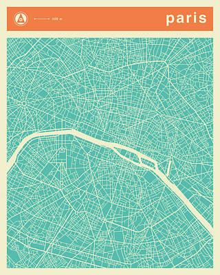 Paris Art Digital Art - Paris Street Map by Jazzberry Blue