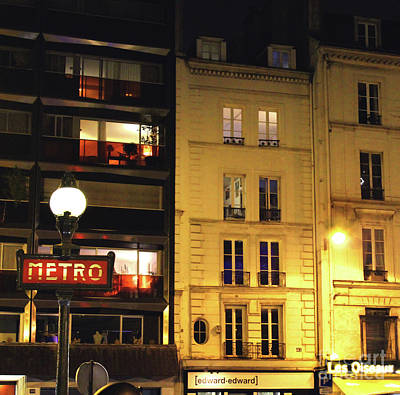 Photograph - Paris Street Metro Sign by D Renee Wilson