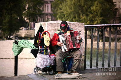 Photograph - Paris Street Musician Hd  by Chuck Kuhn