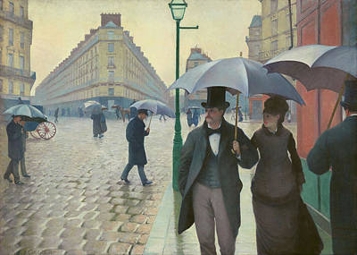 Stone Buildings Painting - Paris Street Rainy Day By Gustave Caillebotte 1877 by Movie Poster Prints
