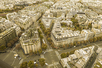 Paris Skyline Royalty-Free and Rights-Managed Images - Paris streets from above by Patrick Kain