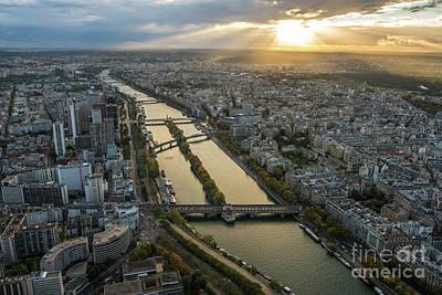 Photograph - Paris Sunrays Dusk Along The Seine by Mike Reid